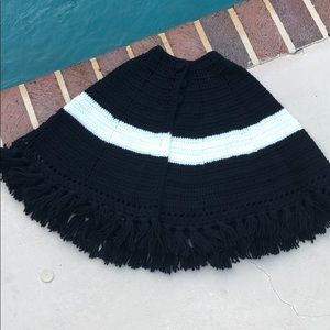 Knitted Poncho black and white with tassels